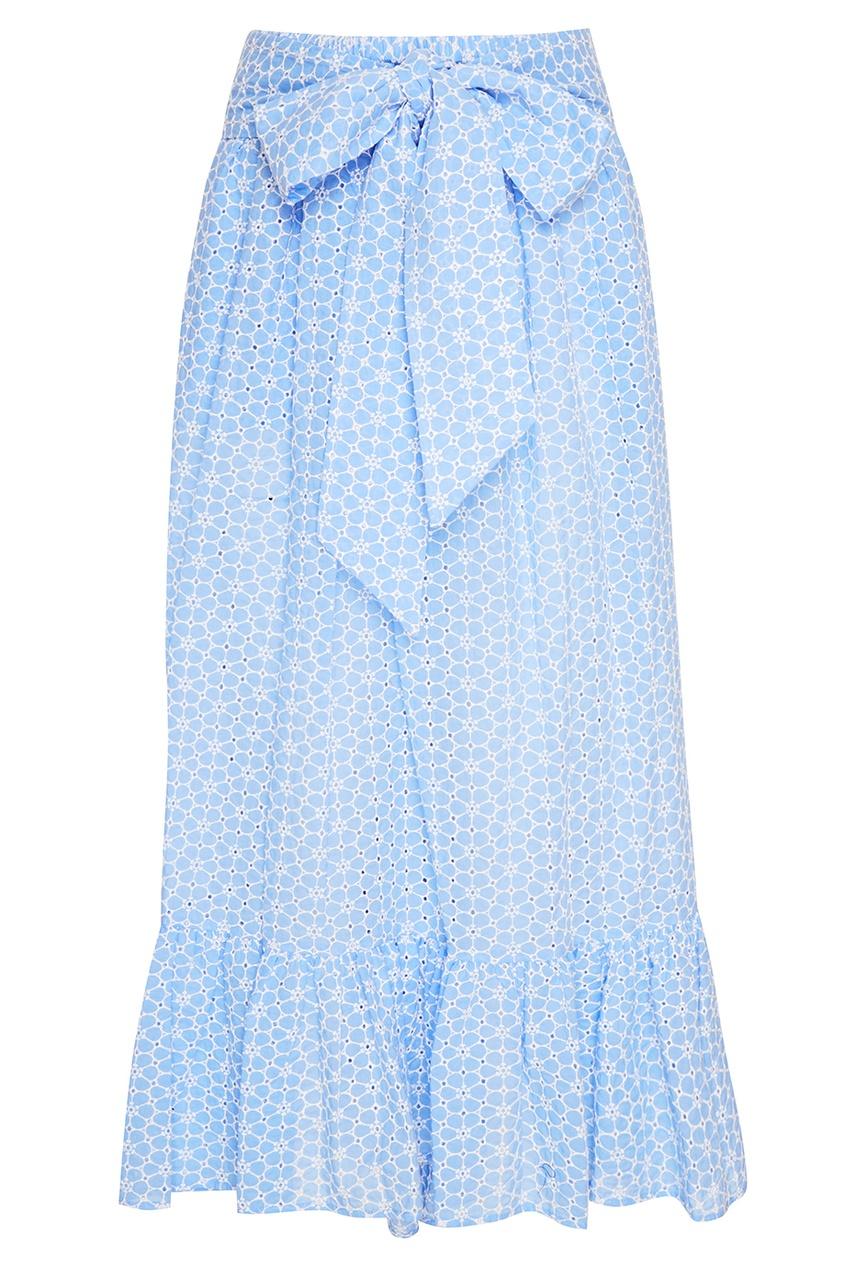 Голубая хлопковая юбка с цветами