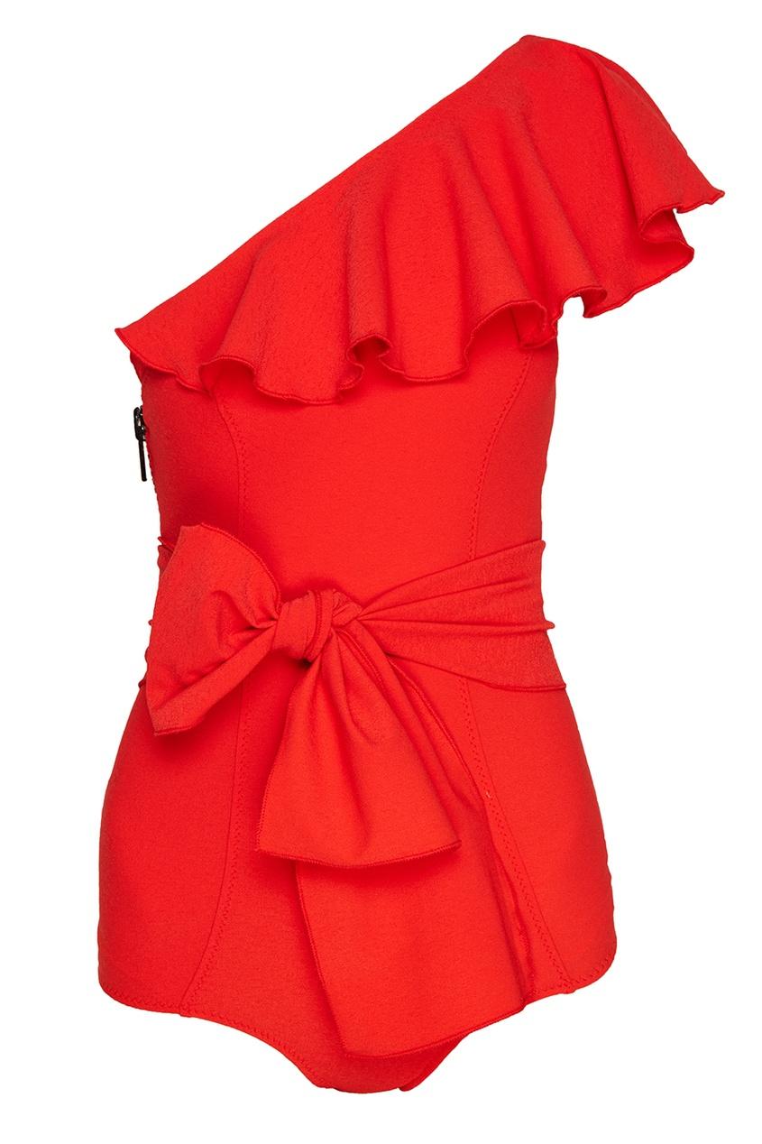 Lisa Marie Fernandez Слитный красный купальник с воланом lisa marie fernandez короткое платье