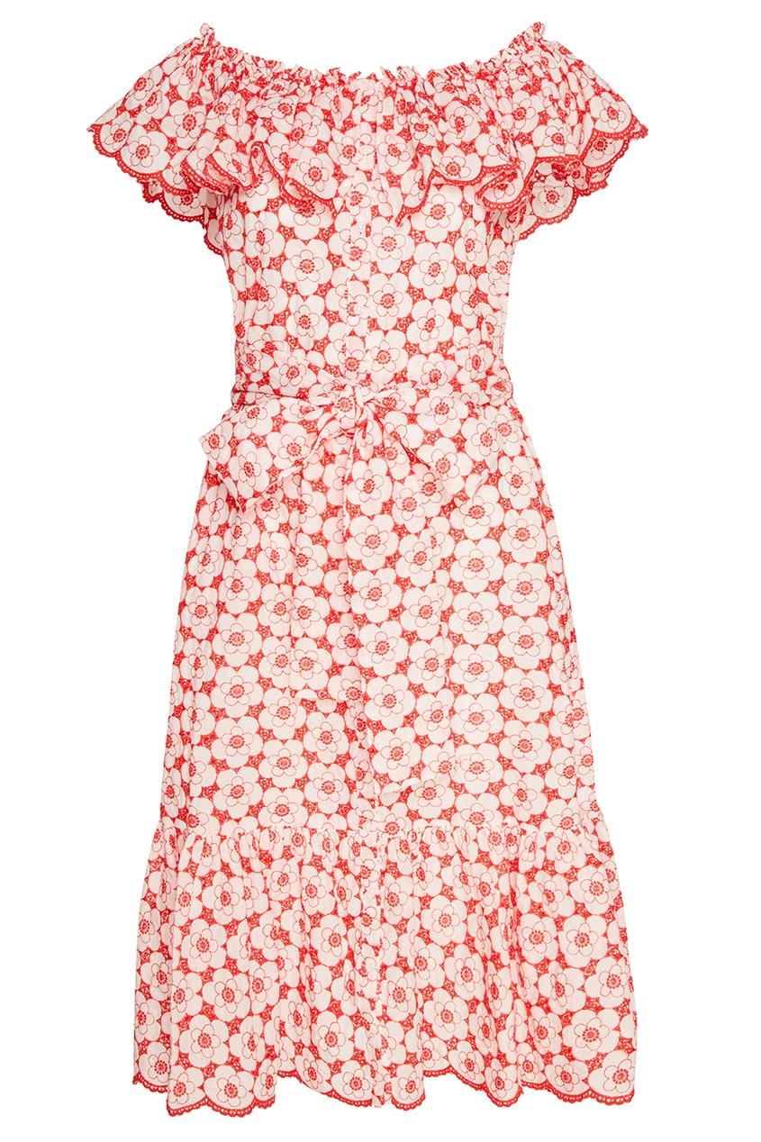 Lisa Marie Fernandez Хлопковое платье с вышитыми цветами marie sixtine блузка