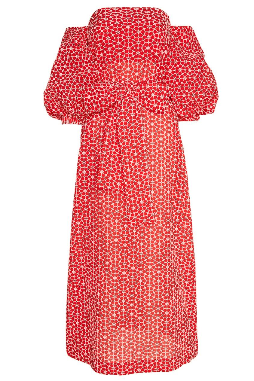 Lisa Marie Fernandez Красное платье-макси с вышитыми цветами lisa corti платье длиной 3 4