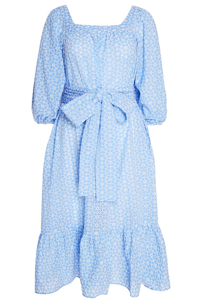 Lisa Marie Fernandez Голубое платье с вышитыми цветами lisa corti сандалии