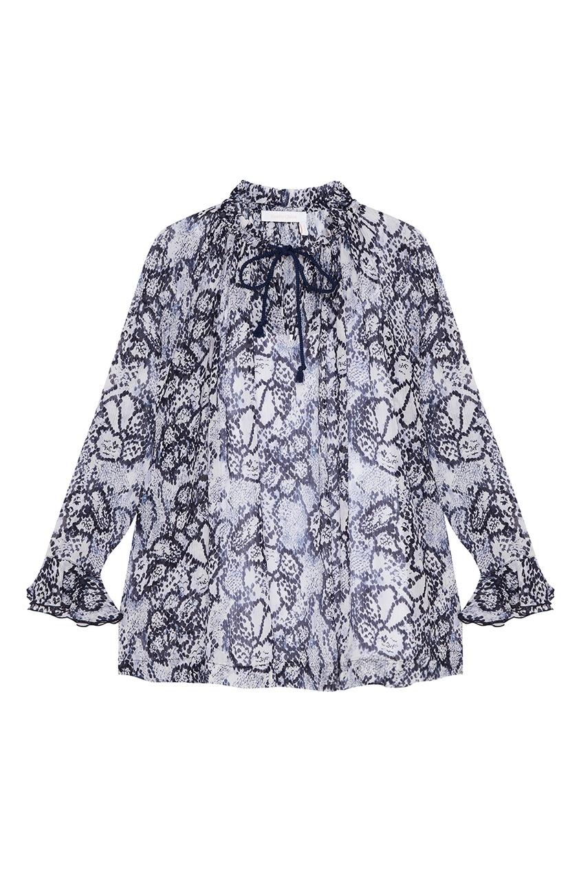 Купить со скидкой Блузка из хлопка и шелка