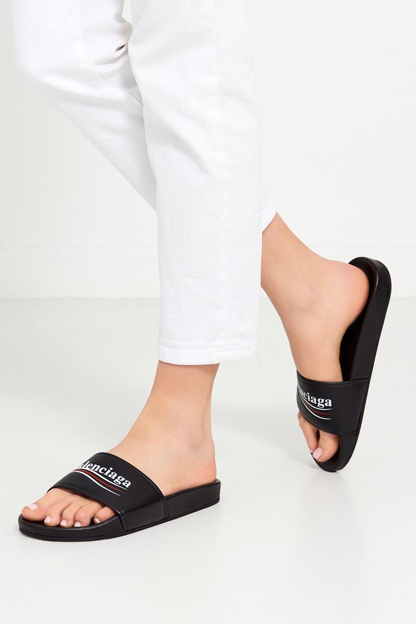 цена Balenciaga Кожаные сандалии с логотипом онлайн в 2017 году
