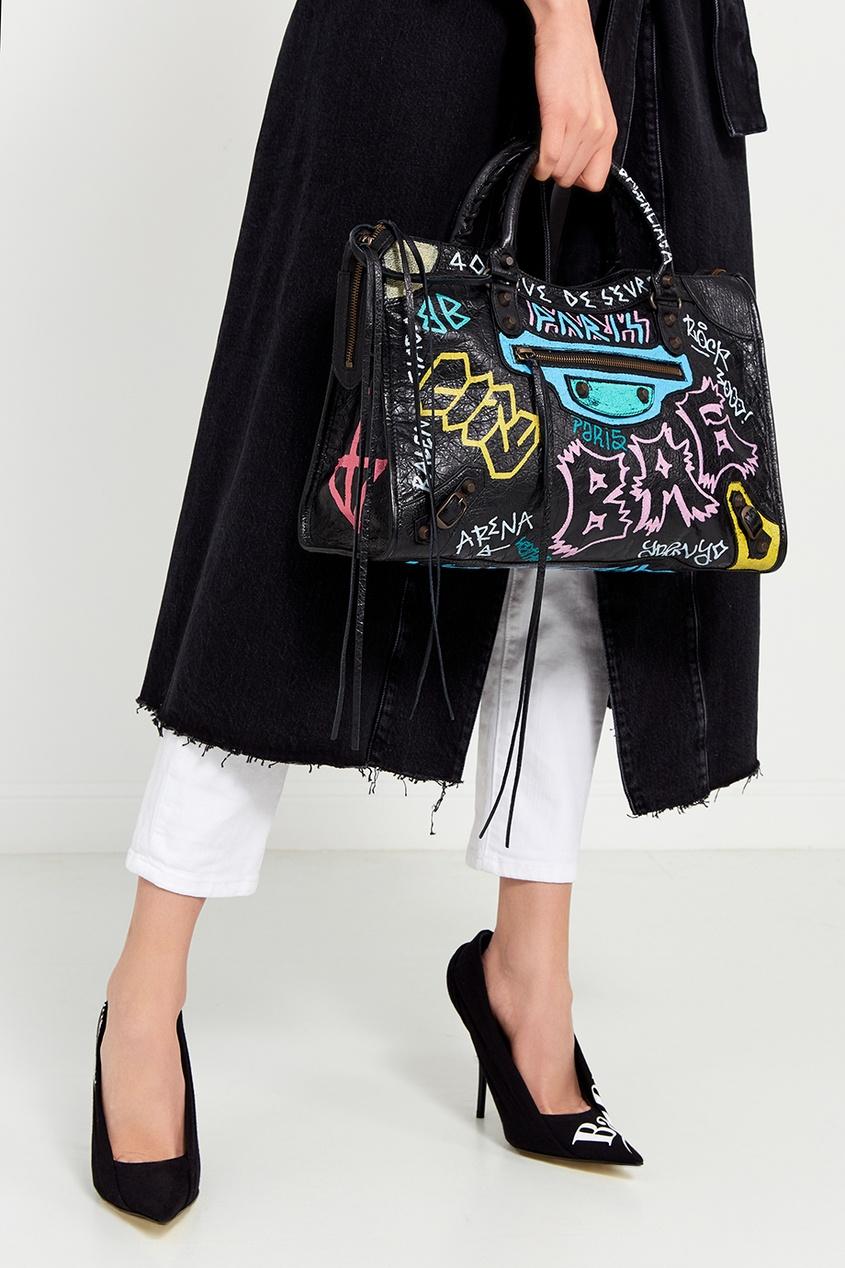 Balenciaga Кожаная сумка с принтом Graffiti Classic City сумка balenciaga mtp00105523 2014 giant 12 city