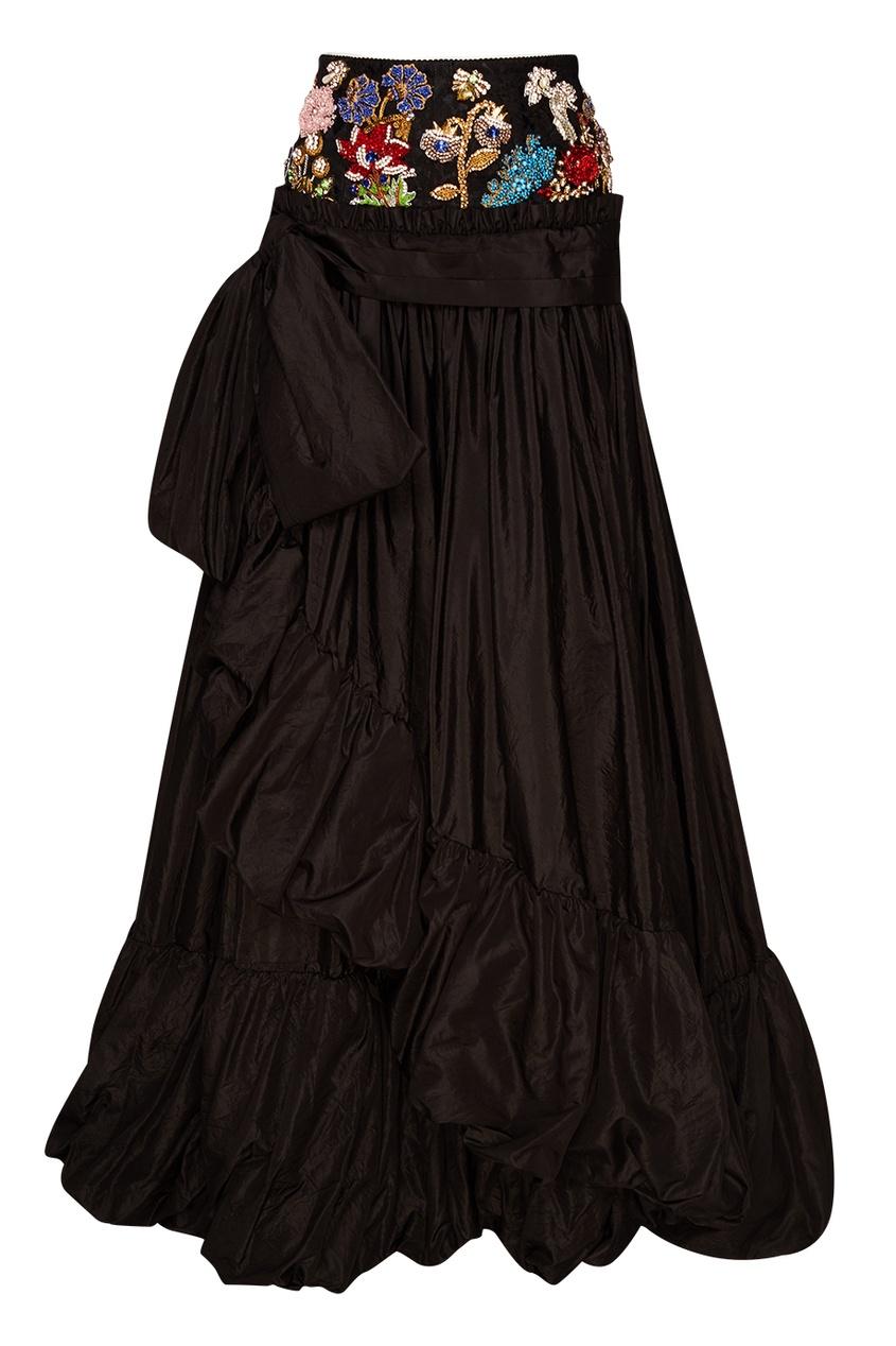 Alexander McQueen Шелковая юбка с вышивкой на поясе alexander mcqueen юбка из шелка с люрексом