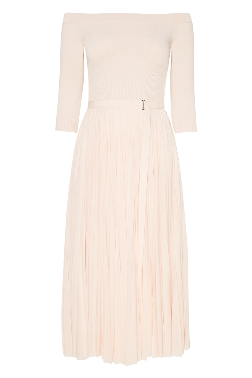 Alexander McQueen Платье-миди с плиссированной юбкой