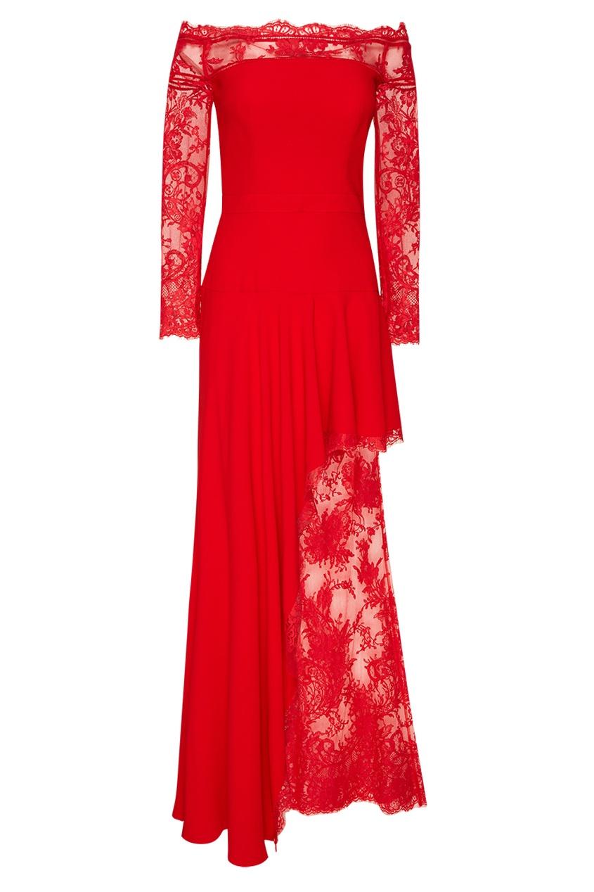 Alexander McQueen Красное платье с кружевом