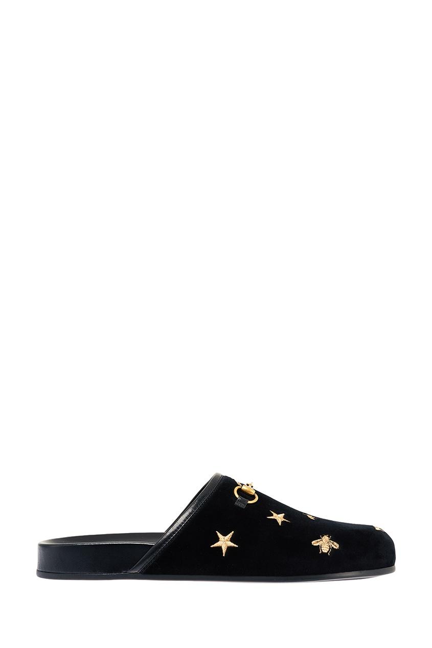 Gucci Бархатные слиперы Horsebit с пчелами и звездами gucci черные кожаные сандалии horsebit