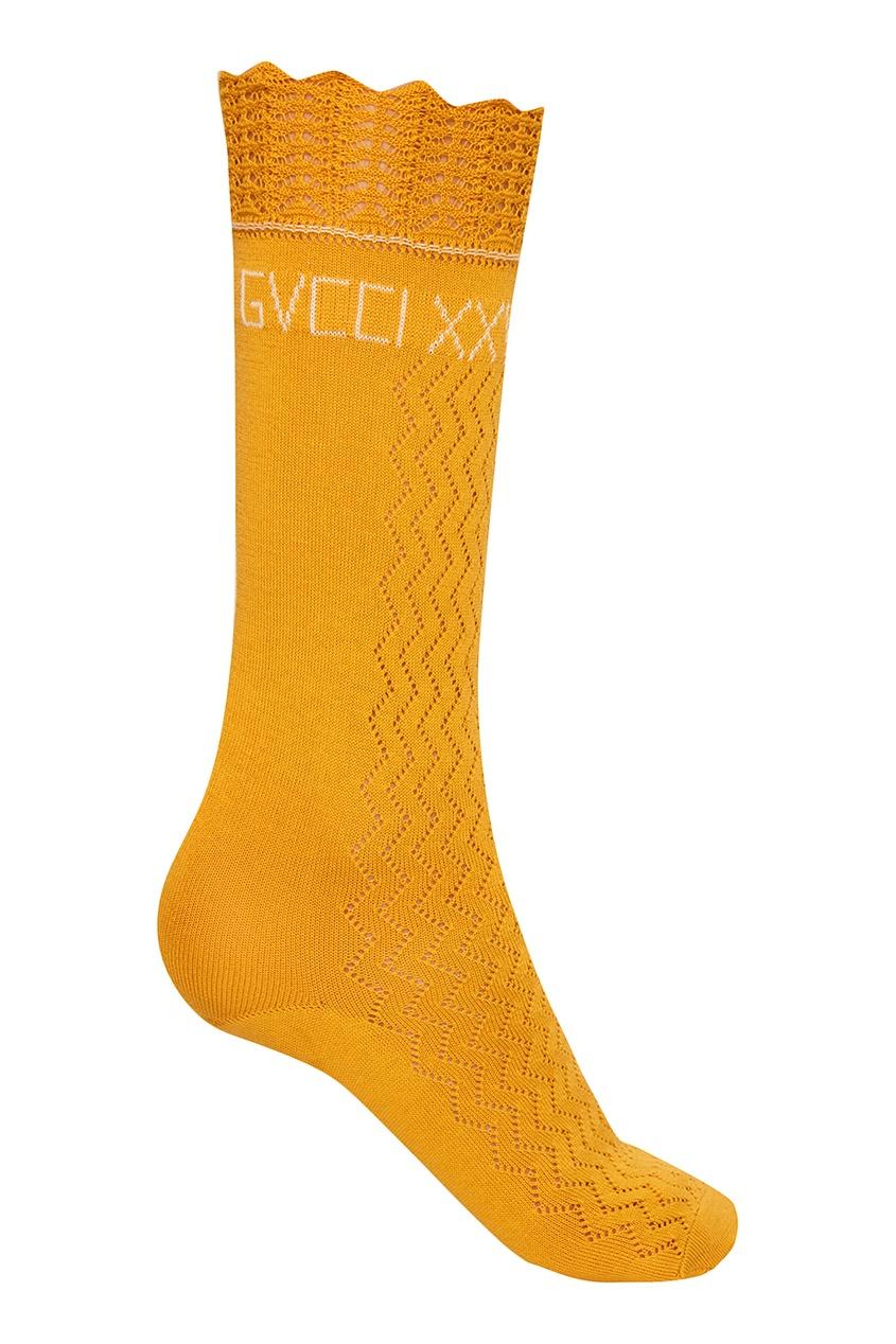 Ажурные носки из хлопка горчичного цвета