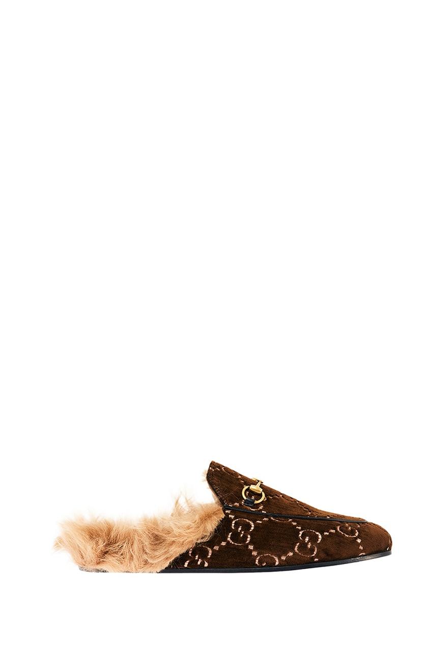 Gucci Бархатные слиперы Princetown с меховой стелькой слиперы мужские в спб