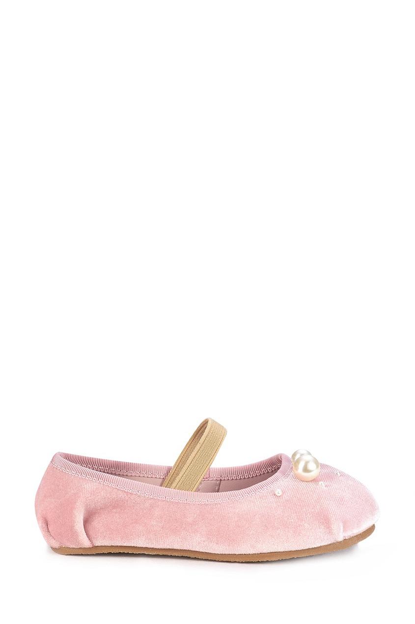 Розовые бархатные балетки Zelda