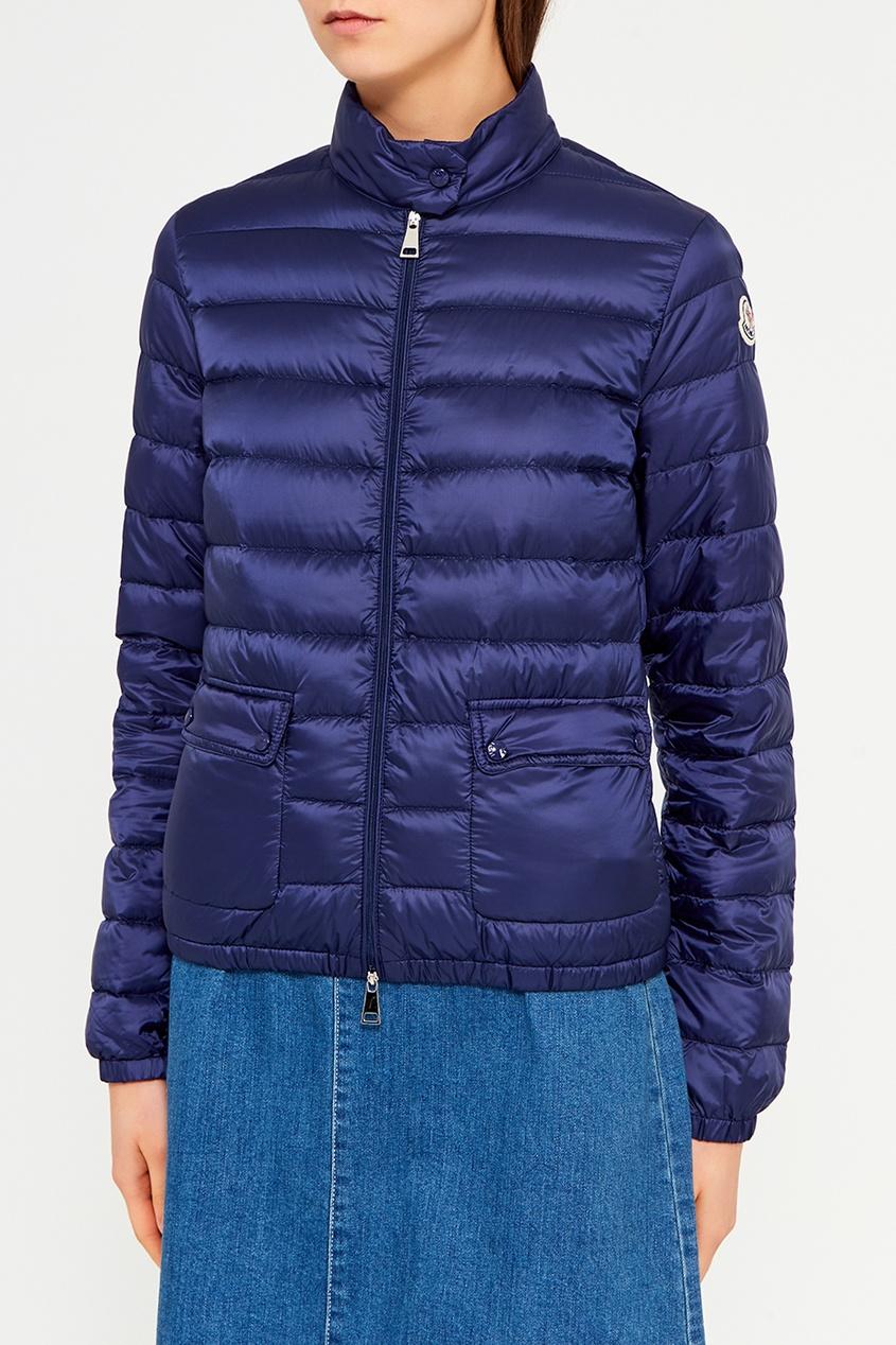 Moncler Синяя стеганая куртка куртка стеганая короткая двусторонняя