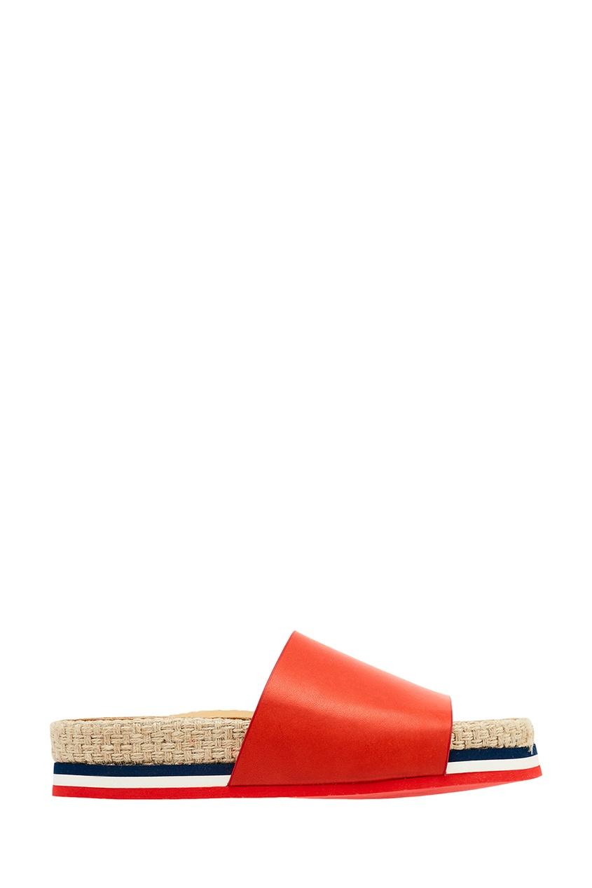 Moncler Кожаные сандалии на плетеной подошве сандалии velvet сандалии на обычной подошве