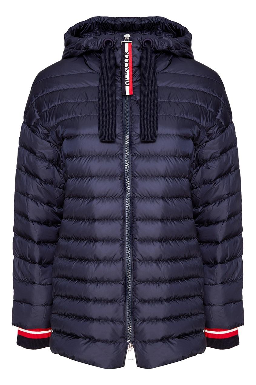Moncler Синяя куртка с контрастной отделкой rnt23 темно синяя вельветовая куртка