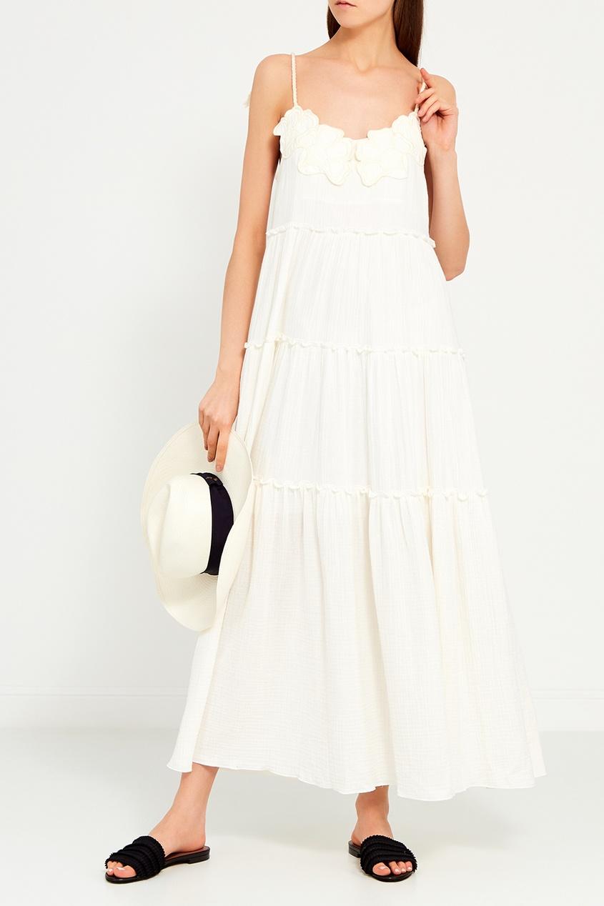 See By Chloé Белое платье с воланами платье chloe платье