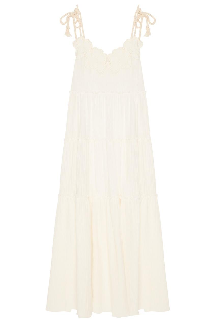 See By Chloé Белое платье с воланами платье с зернистым рисунком chloé