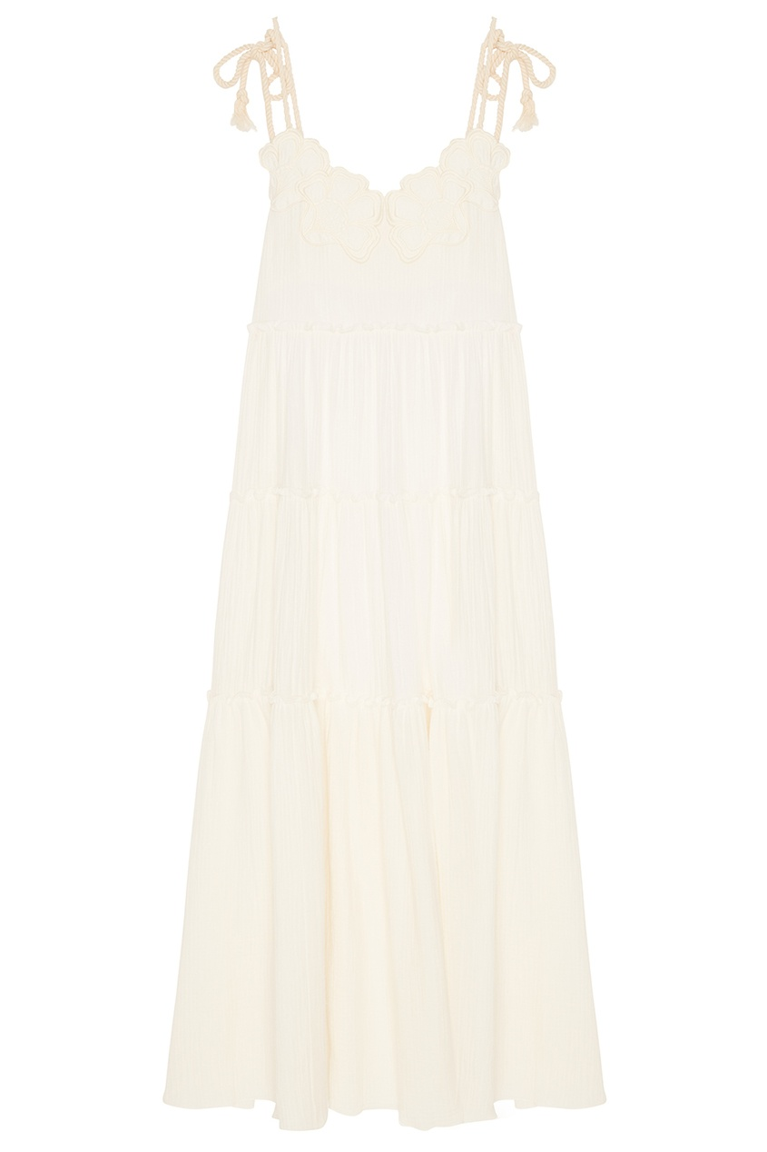 See By Chloé Белое платье с воланами see by chloé шерстяное платье в полоску