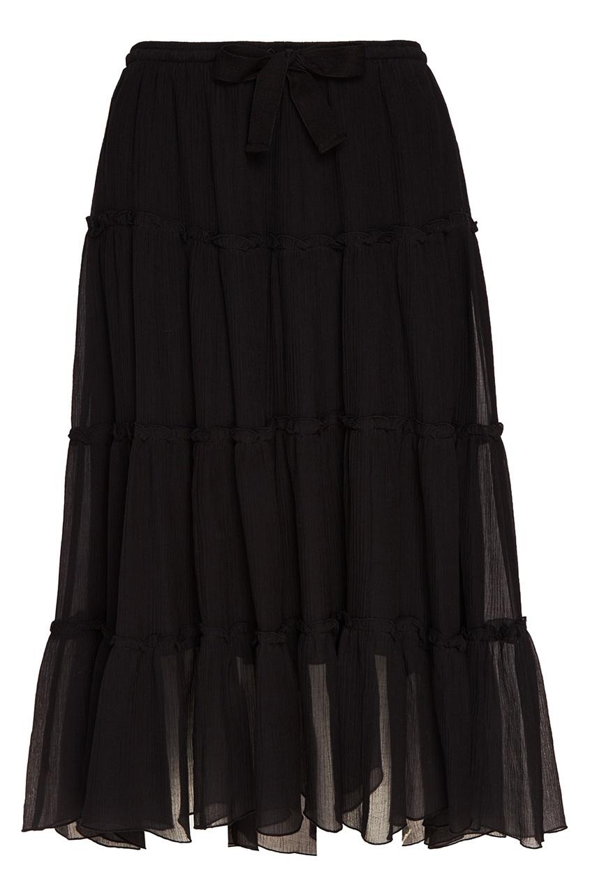 Черная юбка с воланами