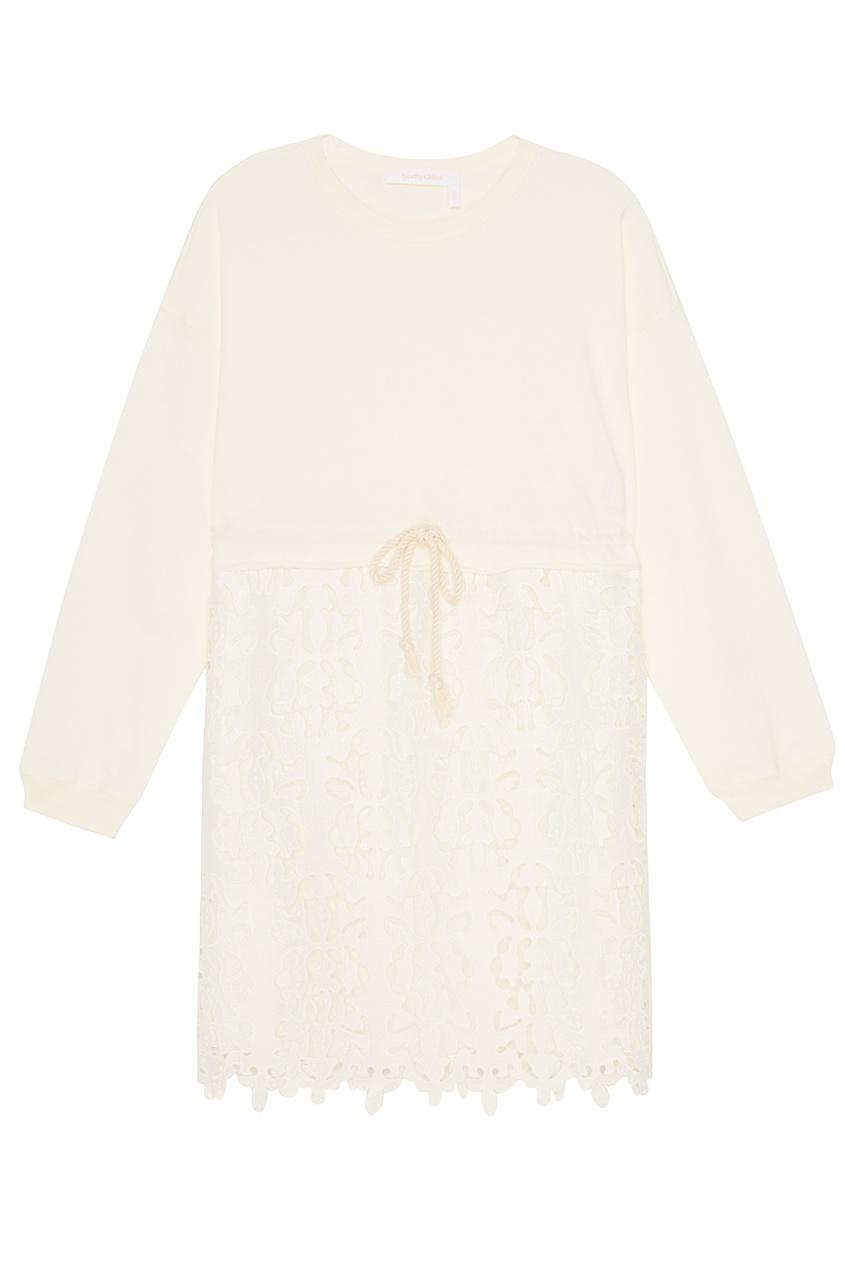 Хлопковое платье с вышитой юбкой