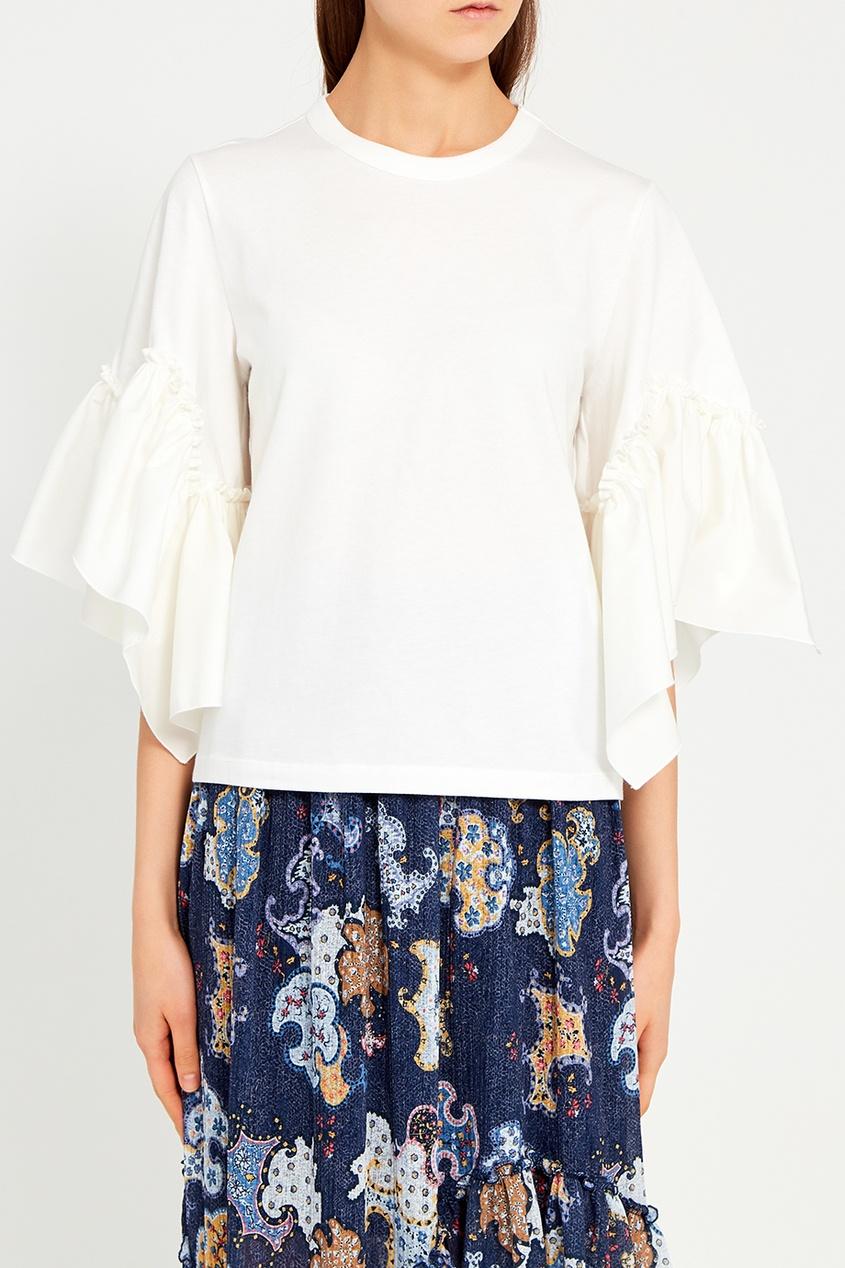 See By Chloé Хлопковая блузка с воланами на рукавах