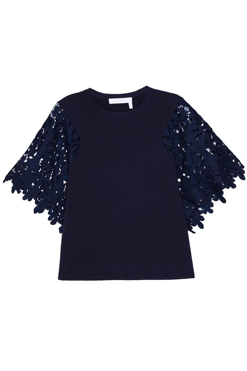 See By Chloé Синяя блузка с кружевными рукавами see by chloé рюкзак