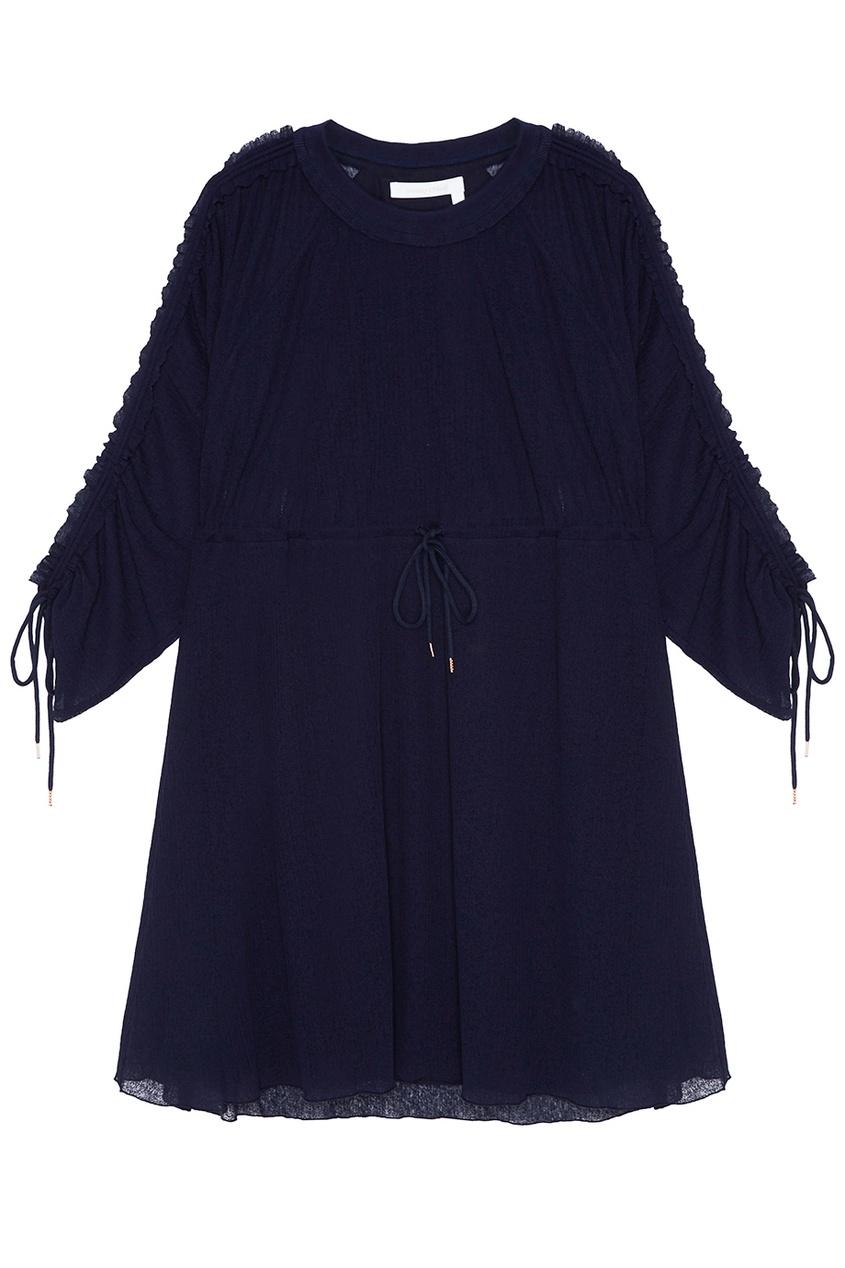 See By Chloé Синее платье с завязками на талии платье с зернистым рисунком chloé