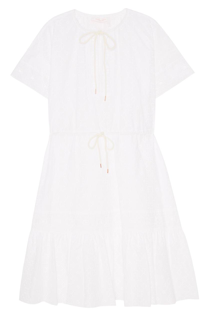 See By Chloé Белое платье из вышитого хлопка see by chloé шерстяное платье в полоску