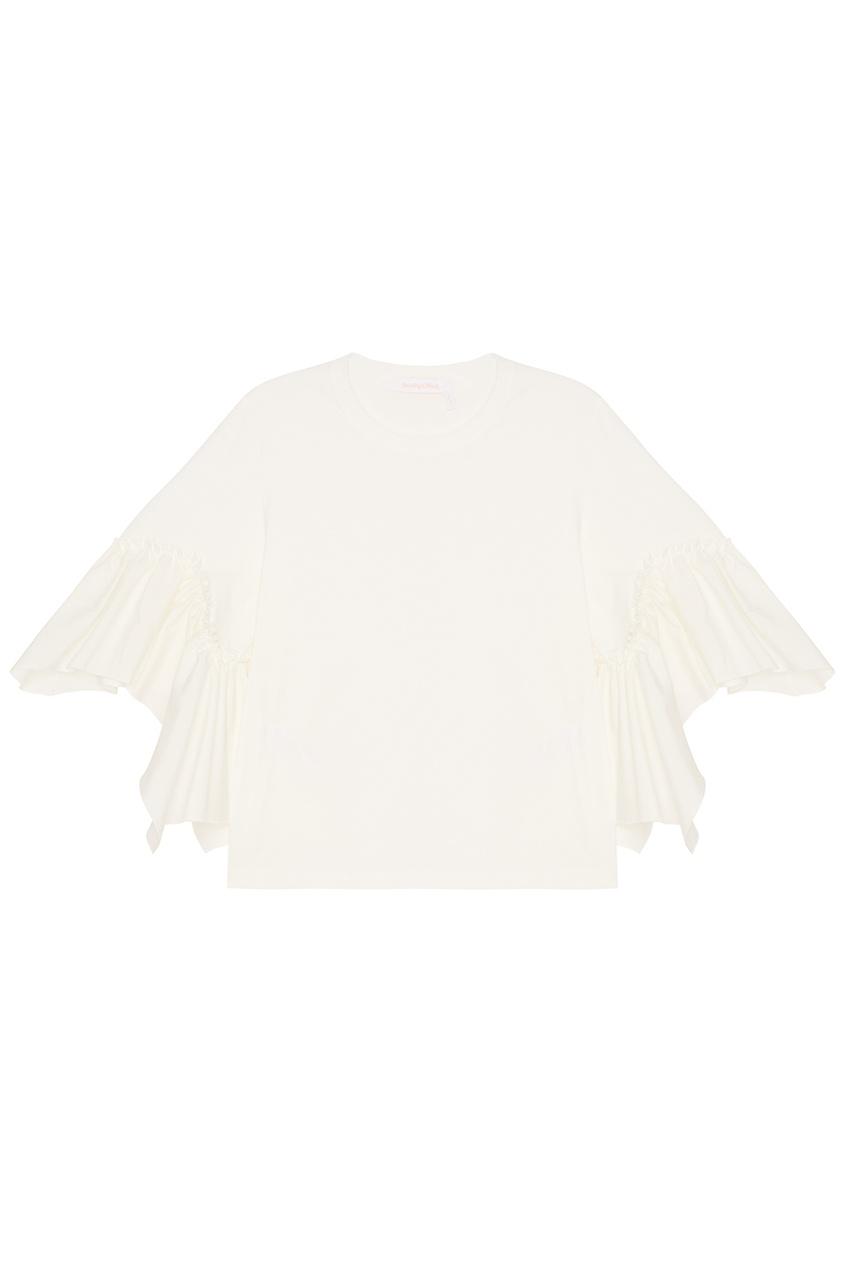 See By Chloé Хлопковая блузка с воланами на рукавах блузка с воланами из хлопка