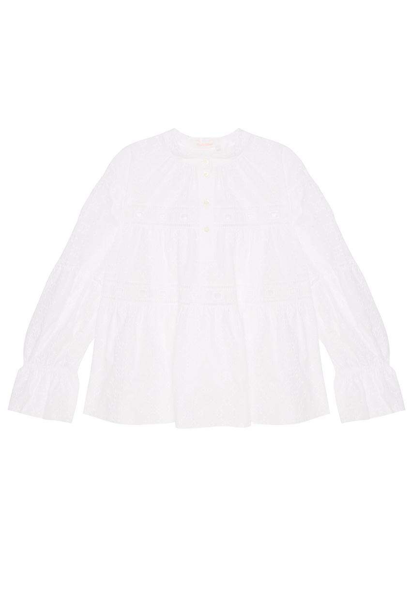 See By Chloé Белая блузка из вышитого хлопка блузка с воланами из хлопка