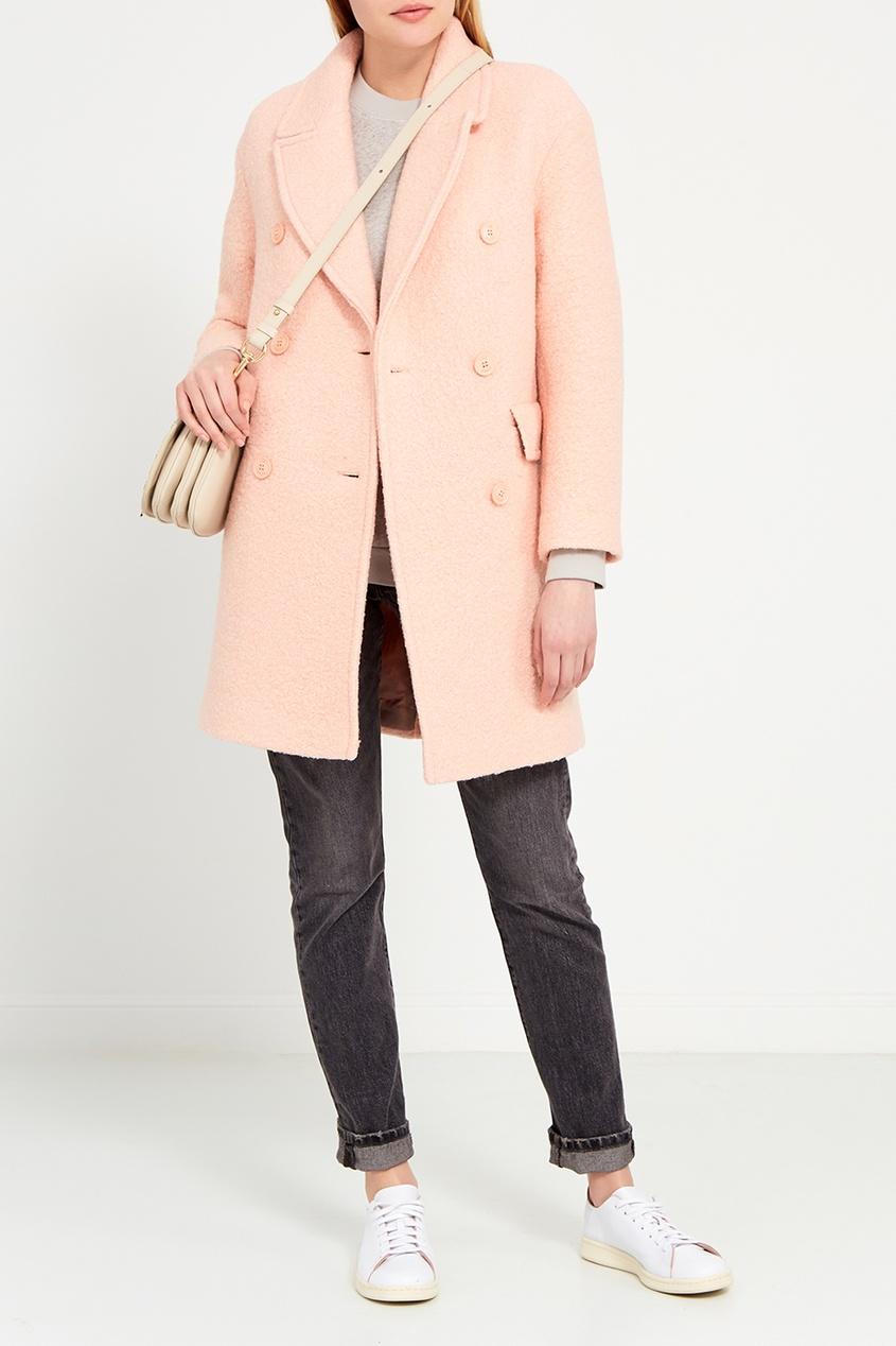 I Am  Studio Двубортное пальто персикового цвета dimma fashion studio пальто элфин серый