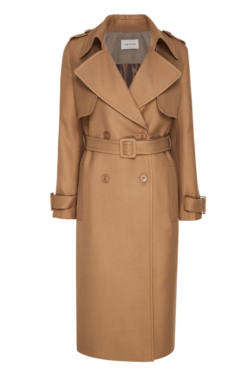 Двубортное пальто из шерсти, Бежевый, Двубортное пальто из шерсти – купить по цене 19,800.00 руб. в aizel.ru | imall.com