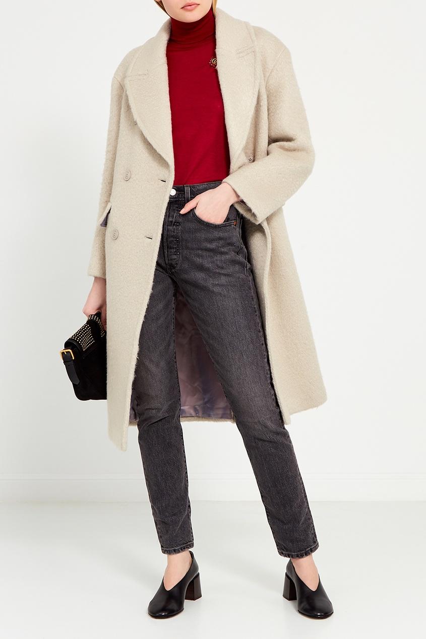 I Am  Studio Серое двубортное пальто серое твидовое пальто