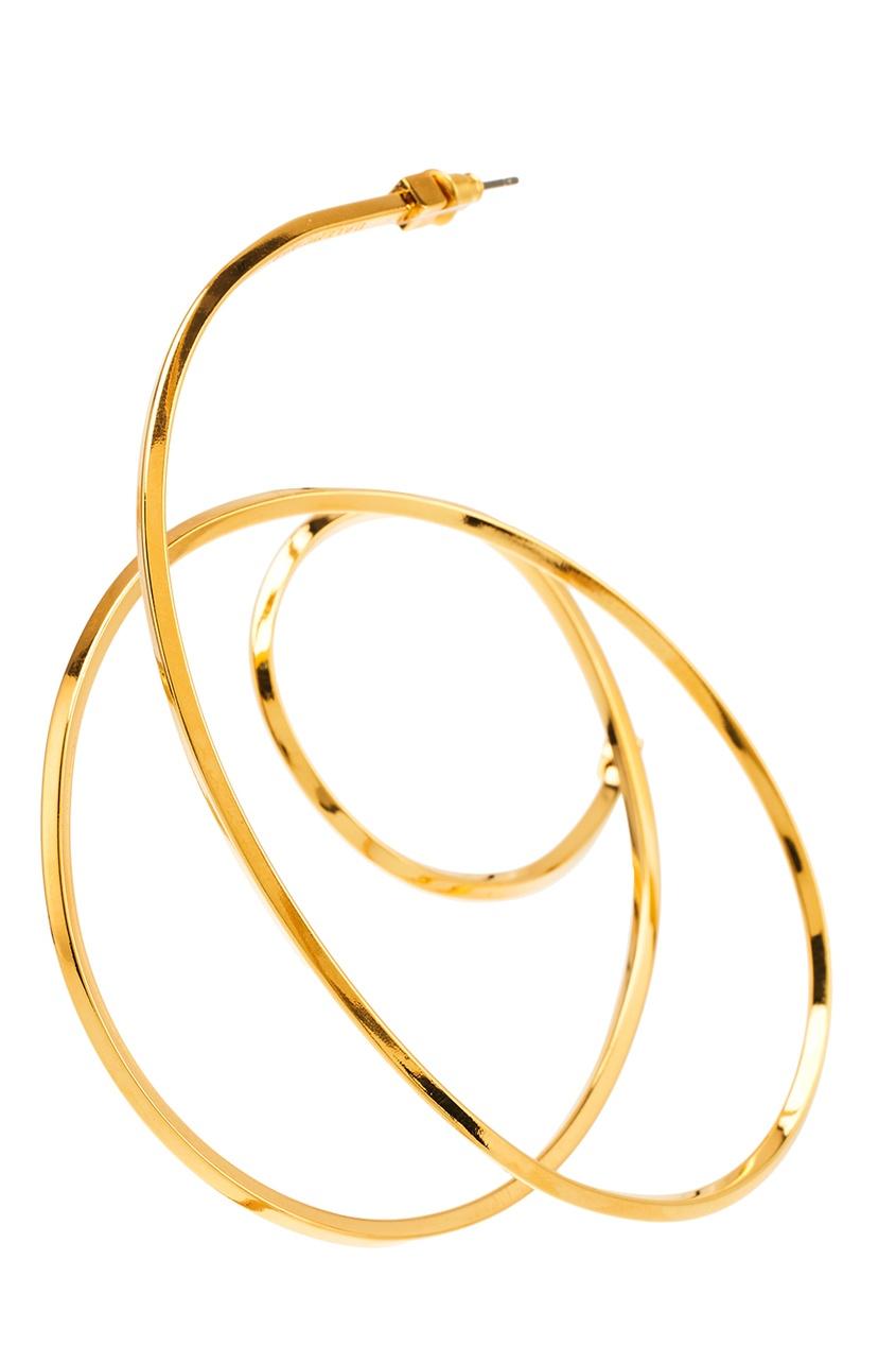 цена на Balenciaga Золотистая моно-серьга Round Elastic