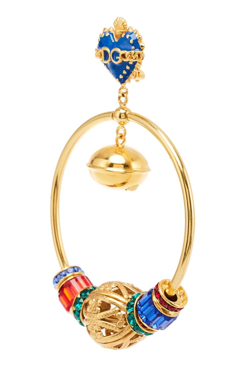 Dolce&Gabbana Серьги-кольца с разноцветными подвесками серьги с подвесками jv серебряные серьги с ювелирным стеклом se0422 us 001 wg