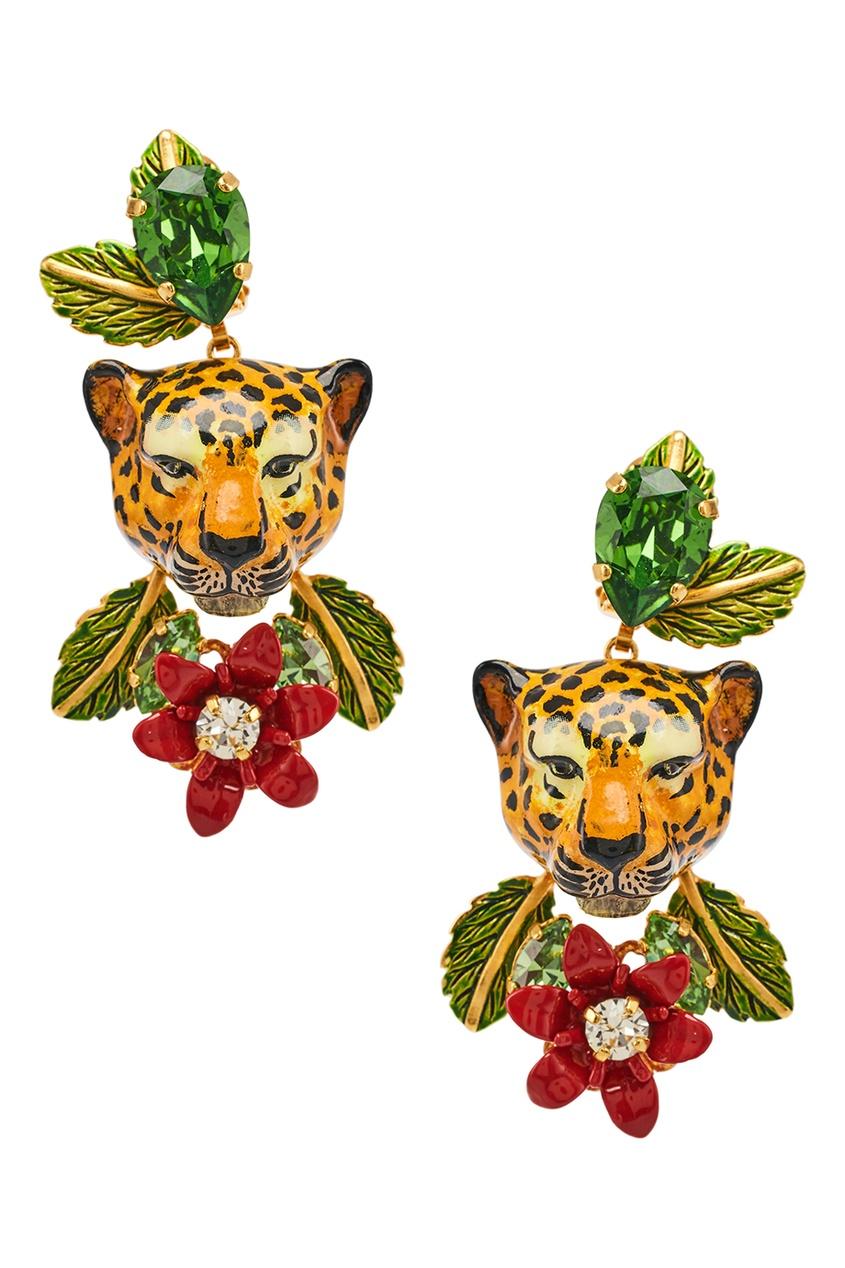 Серьги с леопардами и цветами
