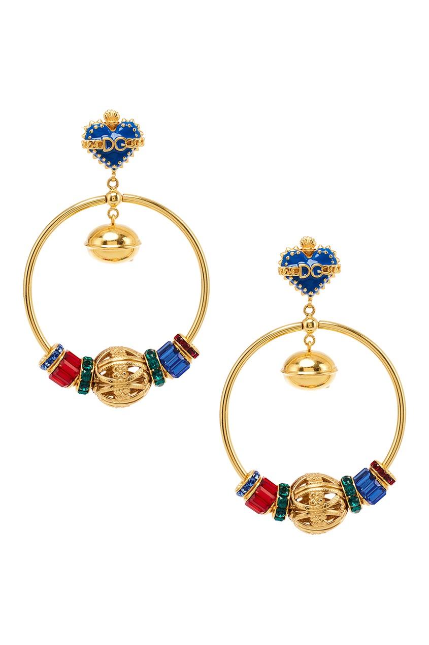 Серьги-кольца с разноцветными подвесками