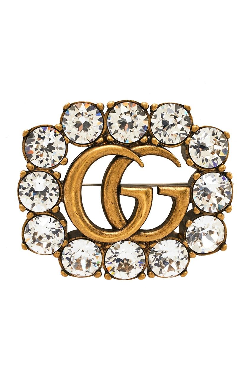 Брошь с прозрачными кристаллами Double G
