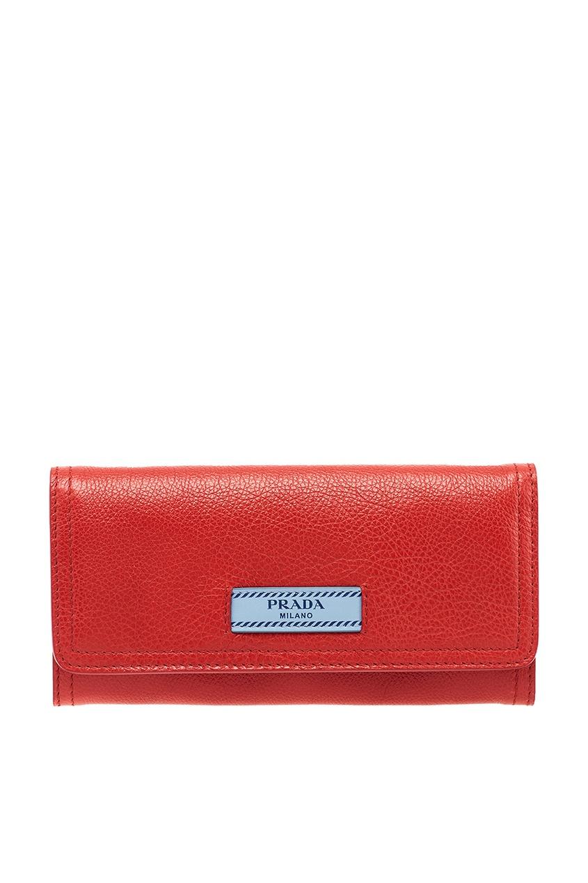 Prada Красный кожаный кошелек Etiquette laete l02 131