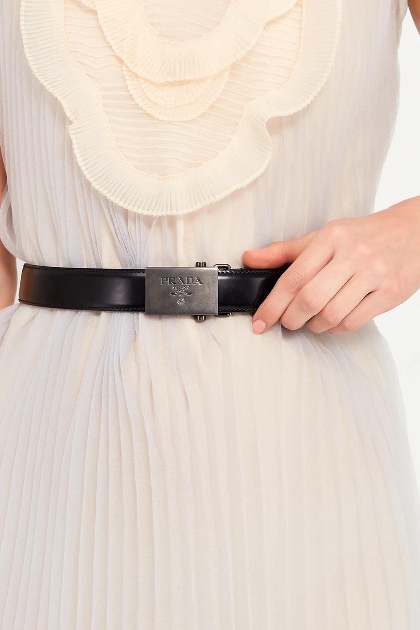 Prada Черный кожаный ремень с гравированной пряжкой