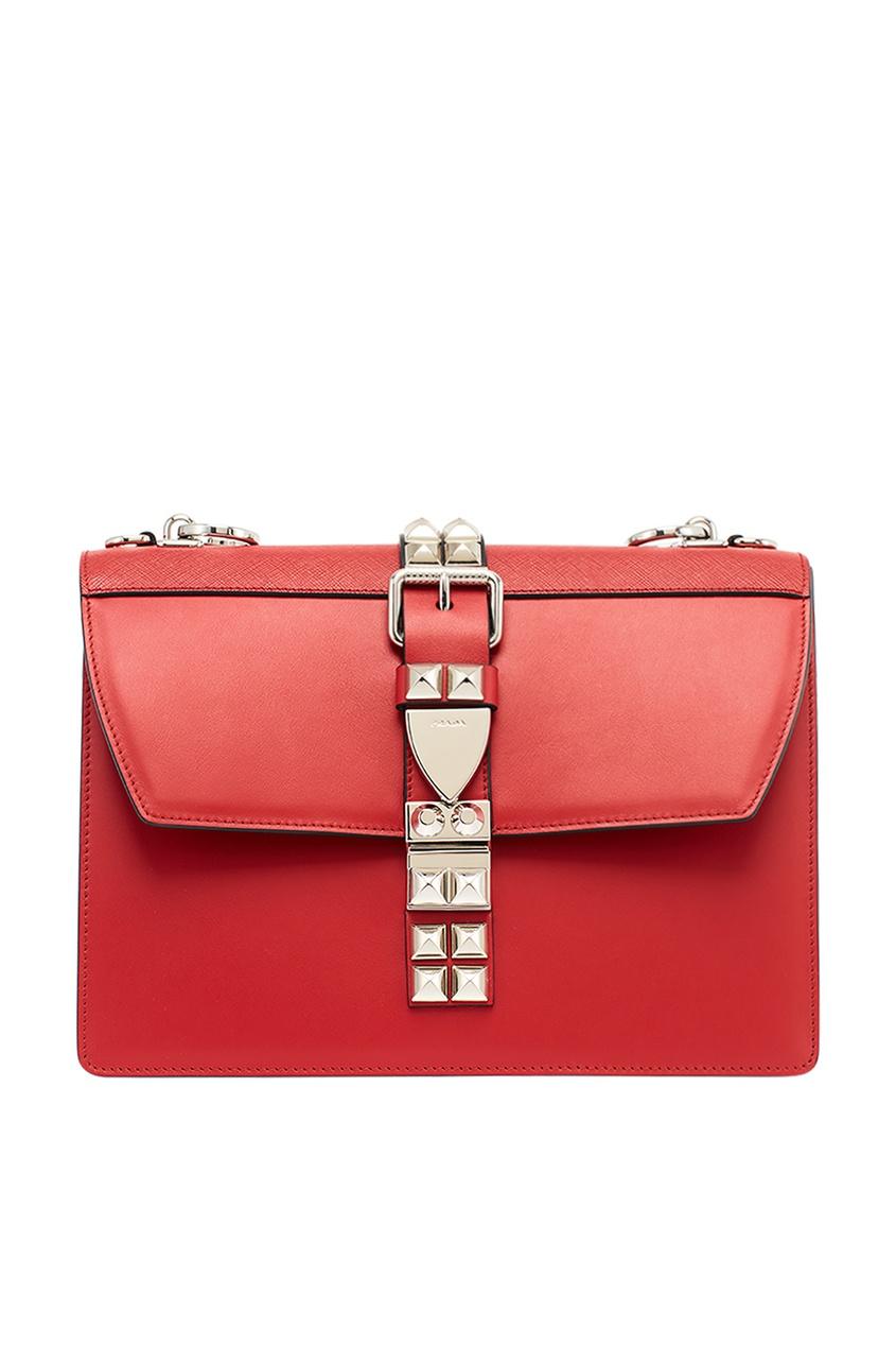 Красная кожаная сумка с шипами Elektra