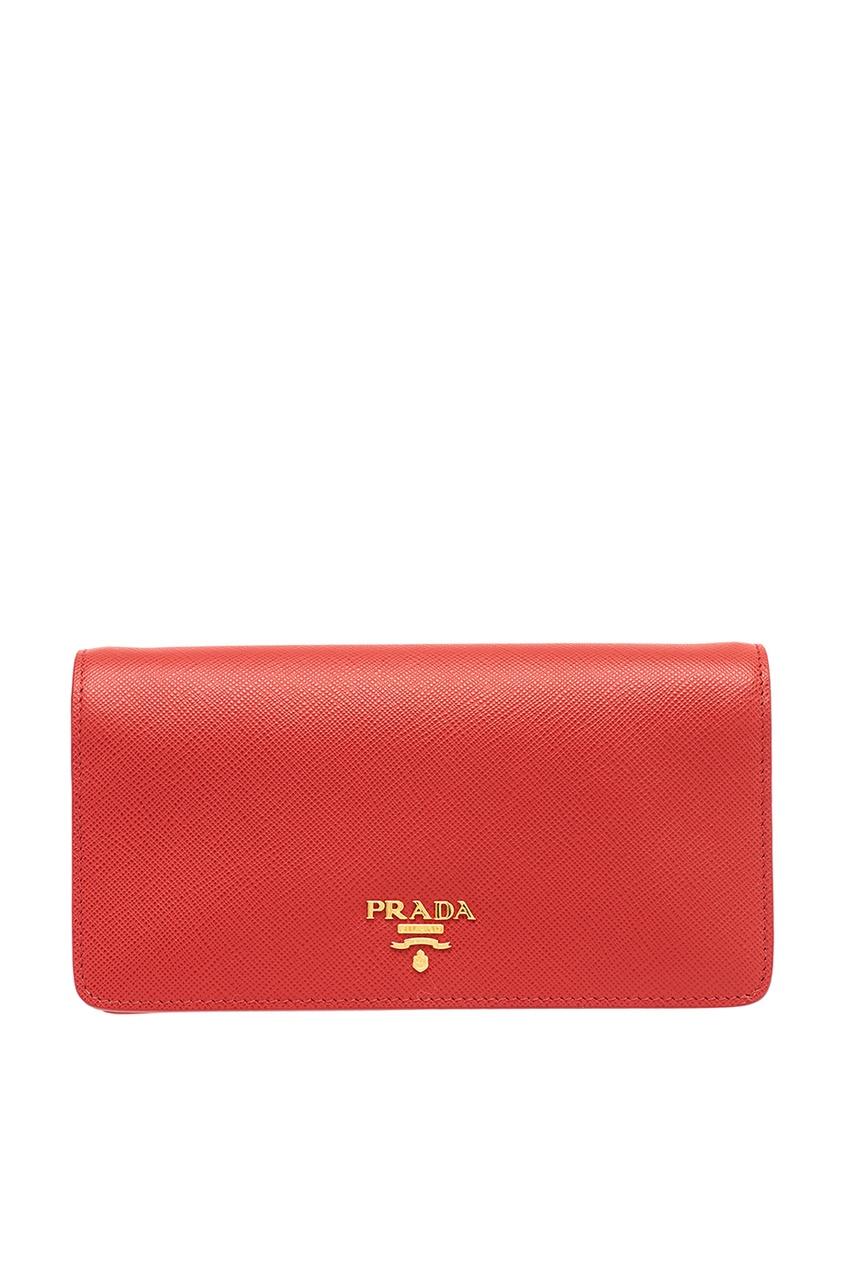цена на Prada Красный кожаный чехол для смартфона