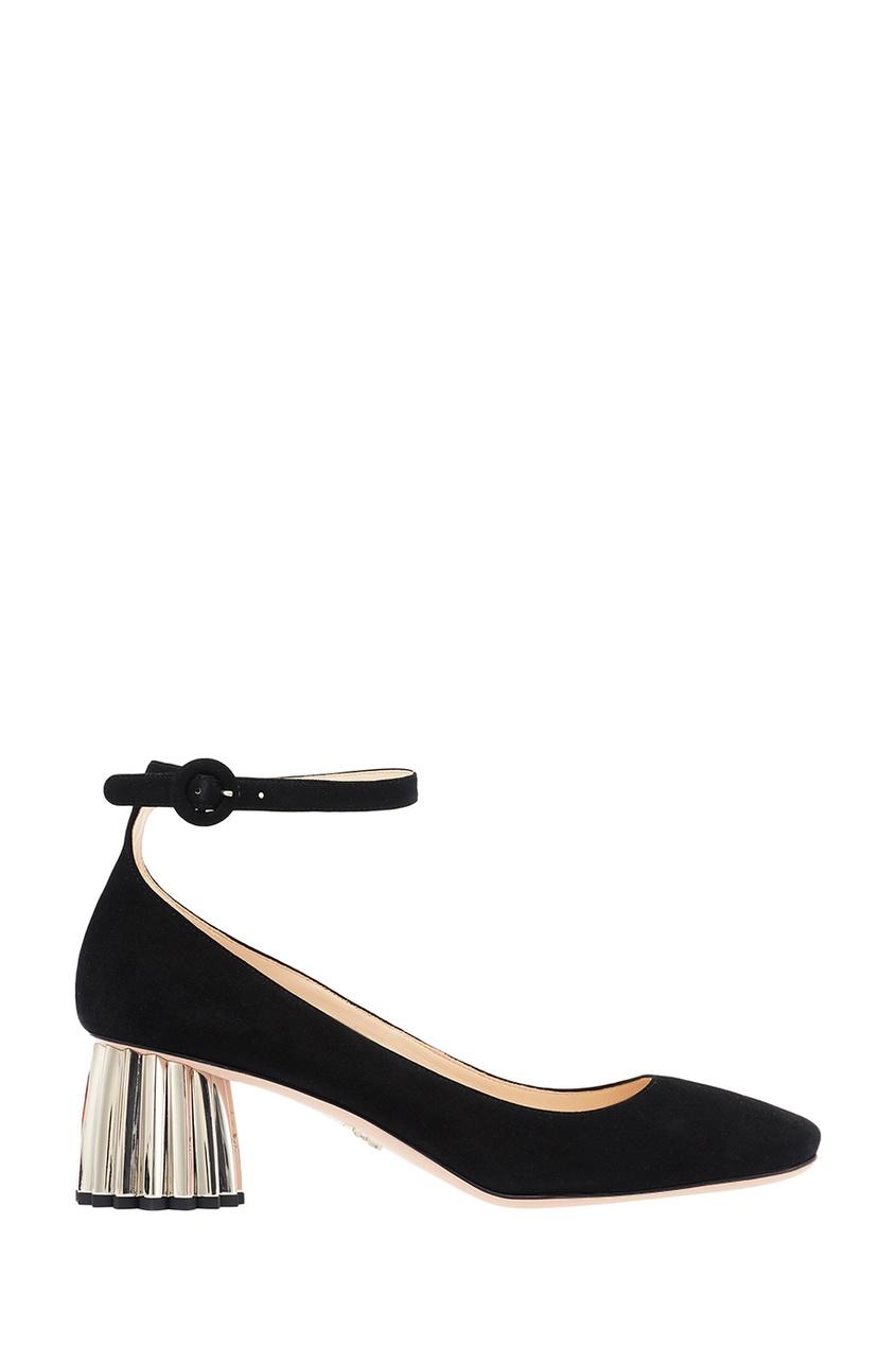 Замшевые туфли на фигурном каблуке