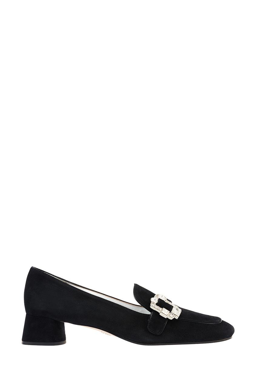 Черные замшевые туфли с пряжкой PRADA