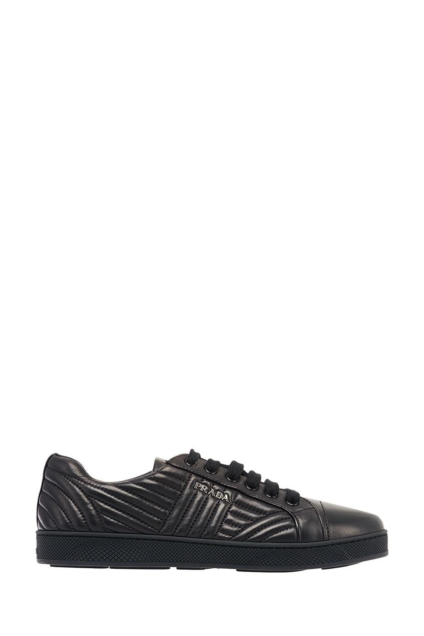 Prada Черные кожаные кроссовки