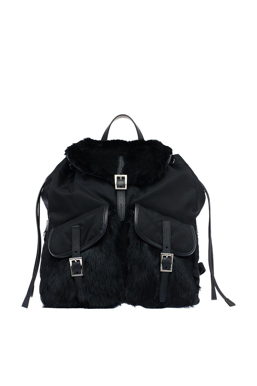 Текстильный рюкзак с мехом кролика