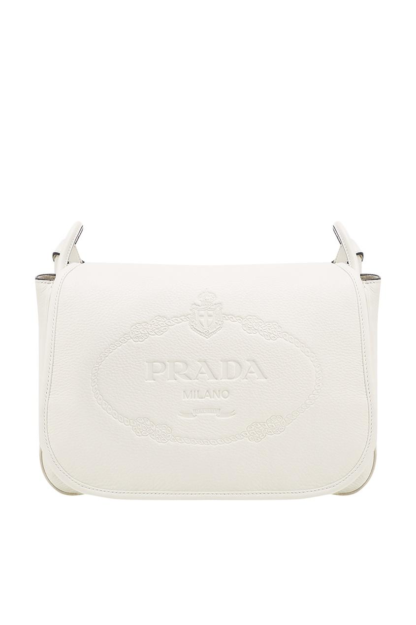 Prada Белая сумка с тисненым логотипом сумка prada nms14 v1tn6 n5887s