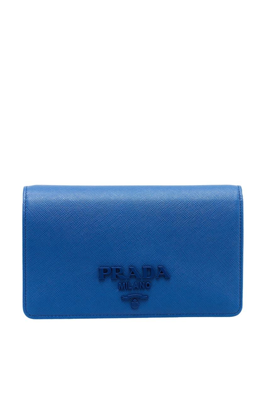 женский кошелёк prada, синий