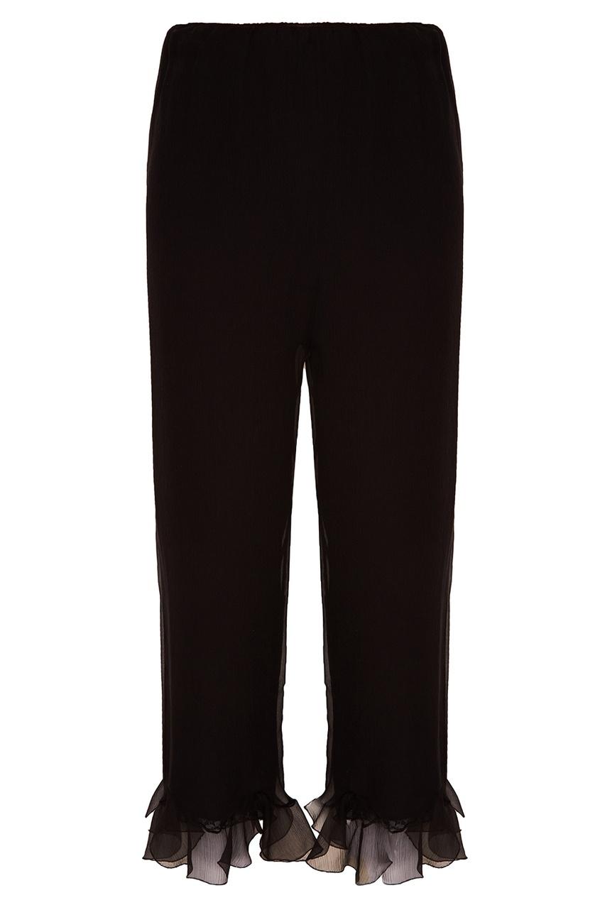 Prada Черные шелковые брюки с воланами