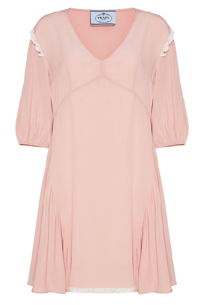 Prada Розовое платье из атласного шелка