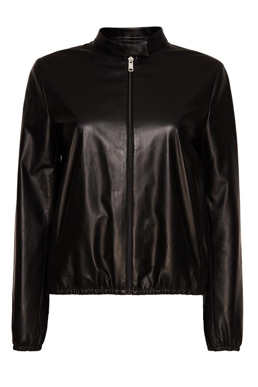 Prada Черная кожаная куртка на молнии prada утепленная куртка на молнии